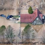 洪水淹沒房舍(圖片節錄自MLive media group報導)