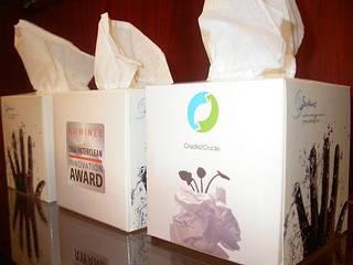 2008年11月間遠赴德國法蘭克福Nutec大展獲得C2C創新獎的衛生紙(鄭永澤攝)