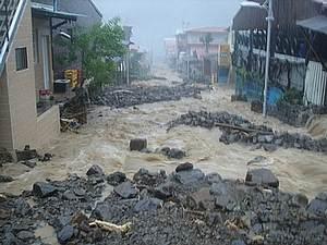 莫拉克颱風期間納瑪夏鄉土石流況狀。圖片提供:晁瑞光