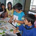小朋友圍著講師由葉子標本來學習辨識植物的特徵