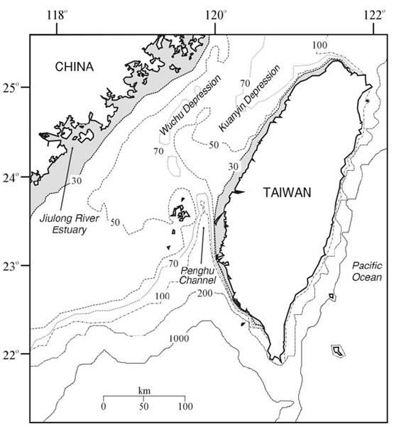台灣海域水深分布圖。(陳昭倫提供)