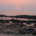 夕陽西下的石滬,景致十分美麗。.