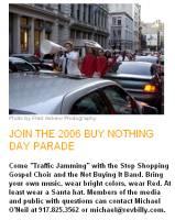 牧師比利今年邀請大家著亮麗的紅色衣服或戴聖誕老人的帽子加入牧師比利及「停止消費」福音團的「Traffic Jamming」,圖片節錄自牧師比利網站