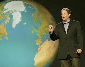 高爾推廣全球暖化議題,與IPCC同獲諾貝爾和平獎。(圖片來源:不願面對的真相)