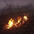 以營火焚燒枯枝,一天的工作又將結束