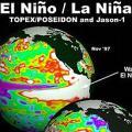 聖嬰現象與反聖嬰現象的對照圖(照片來源:NASA)