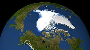 衛星傳回資料中顯示2007年9月14日海冰降至最低點(圖片提供:NSIDC)