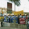 投票日當天反對採礦計畫的遊行隊伍。圖片來源:Alejandro Zegarra-Pezo