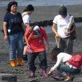 學生在王功漁港旁的潮間帶進行現場解說教學。