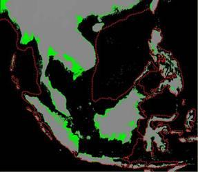 東南亞的海岸線:綠色部分是現在的綠地;灰色是海平面上升20公尺時的陸地;紅色虛線所圍起來的部份,便是海平面下降120公尺時露出水面的巽他大陸。圖片來源:基因生萬物