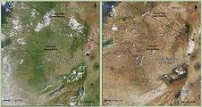 對比2005年1月(左圖)與2006年1月的空照圖,可以知道非洲環境正面臨極大的變遷。圖片來源:NASA