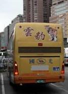 用雲豹圖案裝飾的大客車。