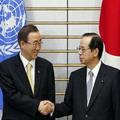 左為日本首相福田康夫(Yasuo Fukuda),右為聯合國秘書長潘基文(Ban Ki-moon)。圖片來源:UN