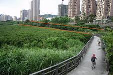 淡水河北側道路經過自行車道;圖片提供:2008年反淡快連線