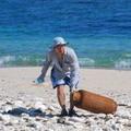 海岸廢棄物多為保特瓶、玻璃瓶,其中還有桶裝瓦斯瓶。