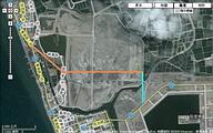 道路示意圖(1-1號道路,路寬65公尺,以橘色線標示; 1-6號道路,路寬40公尺,以藍色線標示)