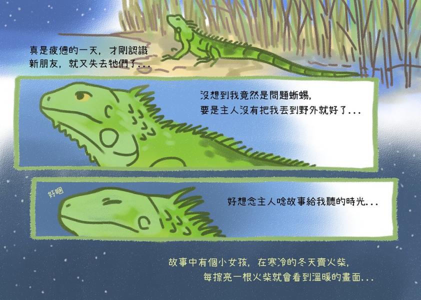 哀傷的綠鬣蜥,懷念主人唸故事的時光