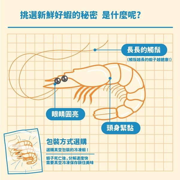 要讓蝦料理更好吃的話,要就要挑選新鮮的蝦蝦啦:(1)選購真空包裝的冷凍蝦(蝦子死亡後,分解速度快,真空冷凍保存鎖住新鮮)、(2)長長的觸鬚(觸鬚越長的蝦子越健康)、(3)眼睛圓亮、頭身緊黏